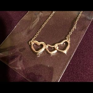 Rose gold triple hearts necklace